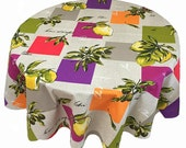 French Country Tablecloth, Olives and Lemons Round Tablecloth