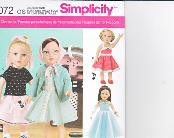 """Simplicity 8072  Doll Clothes 18"""" Vintage 50s Poodle Skirt Dress Gown Top Pants Gloves Scarf Sewing Pattern NEW UNCUT"""