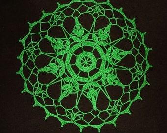 "New Handmade Crocheted ""Pinwheel"" Doily in Myrtle Green - 10"""