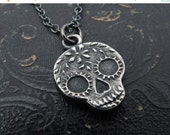 sugar skull necklace, day of the dead necklace, pendant necklace, sugar skull pendant, sugar skull jewelry, Anne Choi jewelry, gift for her