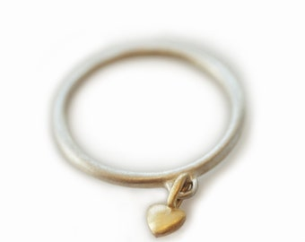 Mini Puffy Heart Charm Ring in Sterling Silver and 10K Gold