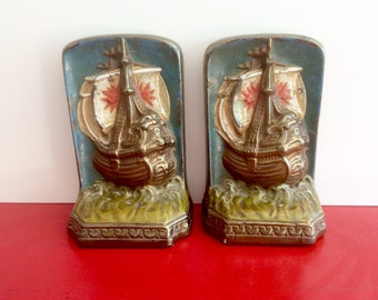 Antique Bronze Clad Bookends. Galvanzo Bronze Book Ends. Nautical Ships, Polychrome Painted. 1920s Vintage Library Decor. S.C.Tarrant Co. NY