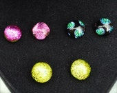 3 Pairs of Colourful Dichroic Glass on Sterling Silver Stud Earrings Sparkling Iridescent - 10mm -Black Velvet Heart Shaped Gift Box