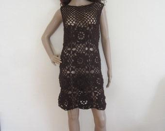 Crochet dress,  Crochet motif dress, beachcover, Crochet cover up, summer dress, festivals, Boho mini, sheath dress