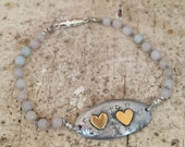 Oval Bracelet Charm with Double Hearts