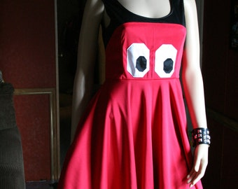Pacman Ghost Inspired Skater Dress Circle Skirt Cosplay Costume Geek