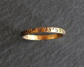 Personalized Coordinate Ring, Hand Stamped in Solid 14 K Gold