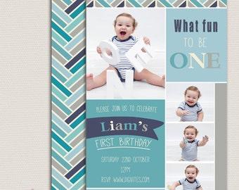 First Birthday Invitation, Personalised Invitation, Boys birthday invitation, First Birthday Invitation, 2nd Birthday, 3rd Birthday, blue