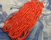 3 Cut Antique Hank Red Orange Glass Seed Bead 9/0