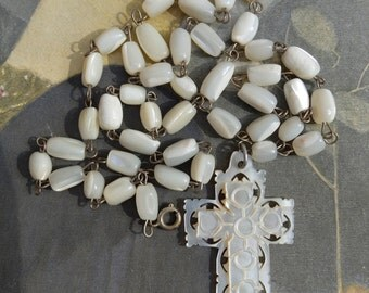Vintage Mother of Pearl Rosary Chain Necklace Cross Pendant