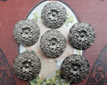 6 Vintage Silvered Black Glass Buttons