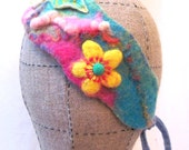 Felt Hand Band Nuno felt Flowers and Leaves Embroidery OOAK