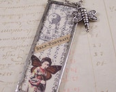 Japanese Inspired Geisha Necklace - Asian Collage Art Charm - Altered Art Charm Necklace -  Dragonfly Charm - Mixed Media Jewlery
