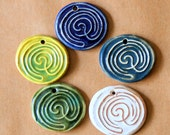 5 Labyrinth Ceramic Beads - Handmade Stoneware Labyrinths - Stoneware Celtic Pendants for fairs and festivals - Handmade Jewelry Supplies