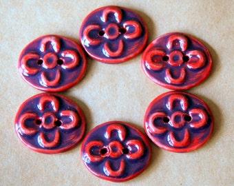 6 Handmade Ceramic Buttons - Small Magenta Folk Art Flower Buttons