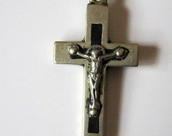 French Antique Lourdes Crucifix Cross Silver Wood Inlay