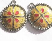 Yellow moroccan style enamel pendants or charms destash items x 2