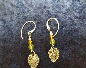 Sterling Silver Falling Leaves Amber and Peridot Dangle Earrings