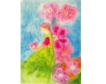 Flower fairy, blessing card print of my wool painting for children