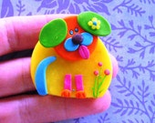 Polymer clay dog brooch - reserved listing for  rychhmo