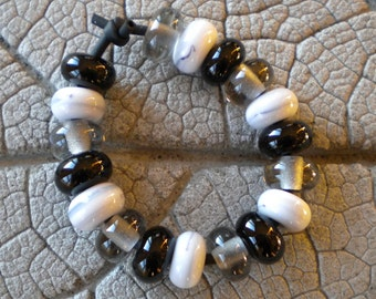 SALE 25 Percent Off Neutral Spacers Lampwork Bead by Cherie Sra R114 Flameworked Spacer Glass Bead Black White Gray Spacers Handmade Glass