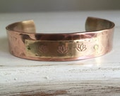 LOTUS FLOWER Secret Message Cuff -- copper and brass