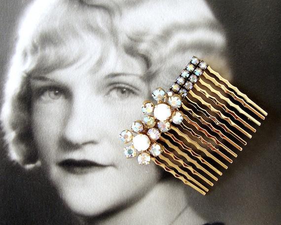 Rhinestone Hair Comb Aurora Borealis Flowers Vintage Jewelry Hairpin Jeweled Hairpiece Formal Hair Piece Pageant Ballroom Wedding Prom Bling