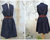 Vintage 1970/70s Austria trachten dirndl folk Prairie dress black tiny floral calico size L
