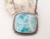 ON SALE Silver Larimar Gemstone Necklace, Contemporary Style Jewelry, Artisan Handmade Necklace, Light Blue Stone Necklace, Oxidized Finish