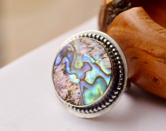 Modern Rustic Abalone Statement Ring, Hand Forged Silver Ring, Handmade Artisan Ring, Stone Ring, Boho Chic Style, Size 7, One of a Kind