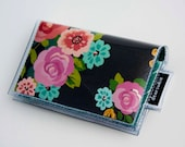 Handmade Vinyl Card Holder - Brand New Day / card case, vinyl wallet, snap, women's, small wallet, bow wallet, pretty, ribbons, girly, pink