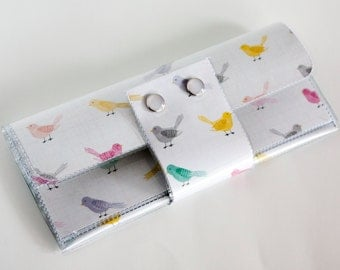 Handmade Vinyl Long Wallet - Little Bird, large wallet, clutch, zipper, card case, vinyl wallet, snap wallet, bird wallet, pretty