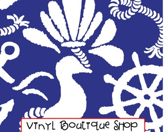 "Navy Blue Anchors Away Lilly Inspired Siser HTV, pattern vinyl, sheet size 12""x12"", Lily P adhesive printed patterned craft vinyl LP-21"