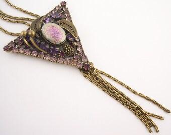 Vintage  Purple Rhinestone Necklace