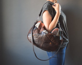 The TUNDRA Leather Bag /// slouchy brown leather bag with navajo southwestern fabric and tassel