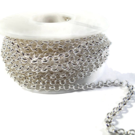 Silver Plated Rolo Chain, Medium Silver 4mm Rolo Chain, By the Foot, Sturdy Chain, Charm Bracelet, Necklace Supplies (CB 272 FS)
