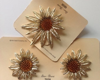 Vintage Demi Parure Sarah Coventry Brooch Earrings Star Burst