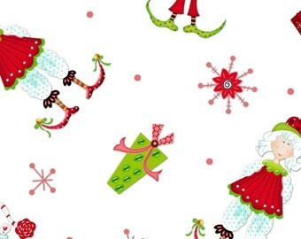 Tisel Toes by Henry Glass Fabrics, Elves and presents on White, yard