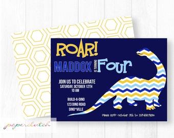 Dinosaur Birthday Invitation - Broncosaurus - Good Dinosaur - Blue and Yellow - Roar 4th Birthday - Boy Dino Birthday Party - Printable