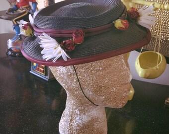 SALE Vintage 1930s Hat navy blue floral Old Hollywood 1940s
