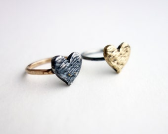 Two Toned Scratch Heart Rings