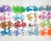 Bike Art Print - Rainy Day Bicycles  - 2
