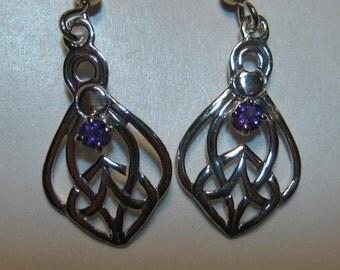 Amethyst Celtic Sterling Silver Earrings ............  e834