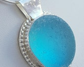 Aqua Turquoise Sea Glass Pendant Aqua Sea Glass Necklace Sea Glass Jewelry - N-383