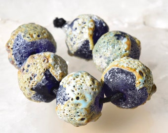1 Pair or 3 Pairs Crusty Cobalt Blue Spheres , Rustic Lampwork Beads , rustic looking  glass beads by Beadfairy Lampwork, SRA