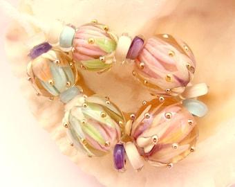 5 Handmade Lampwork Lotus Flower Beads & 12 Spacers