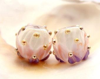 Lotus Flowers Handmade Lampwork Bead Pair