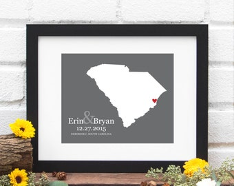 South Carolina State Map Art Print, Custom State Map Wedding Gift, Bridal Shower Gift, Southern Bride, Shower Gift - 8x10