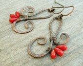 Red Coral and Hammered Copper wire wrapped dangle earrings - antiqued copper wire jewelry