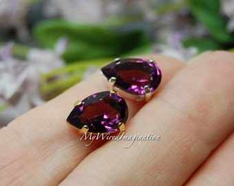 Transparent Amethyst, Swarovski Crystal 13 x 8.5mm Pear 4320, With Prong Setting, Rich Deep Purple, Jewelry Making February Birthstone